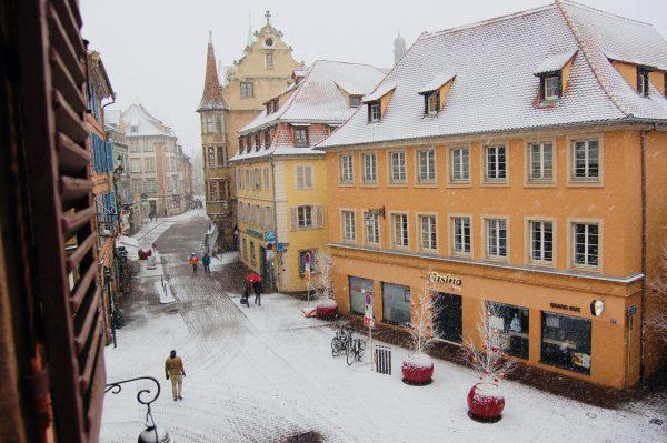 Snowy Street in Colmar - European Christmas Experience
